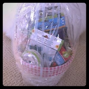 White Basket Filled with Craft Supplies